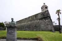 Bust of Teofilo Braga in front of the fortification wall of Fort Sao Bras