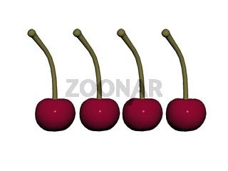 rote Kirschen mit Fruchtstiel