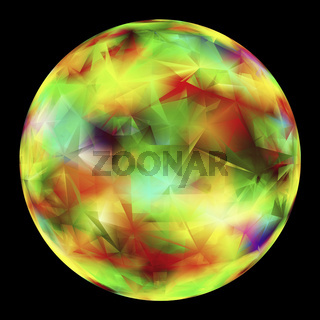 Multicolor Glowing Orb Isolated Over Black Background