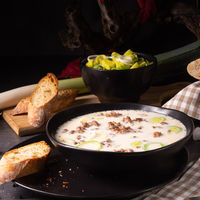 Delicious cheese and leek soup with minced meat