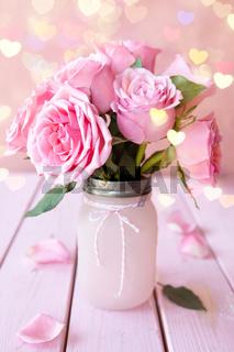 Rosa Rosen in Einmachglas