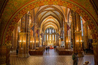 Budapest, Hungary, March 22 2018: The interior of the Church of the Assumption of the Buda Castle. It is more commonly known as the Matthias Church and was built in the 14th century