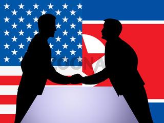 North Korean And US Diplomatic Hand Shake 3d Illustration