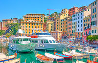Boats and ships in the port of Camogli town