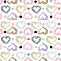 Seamless pattern with hand drawn heart. Hearts painted dry brush. Ink illustration.