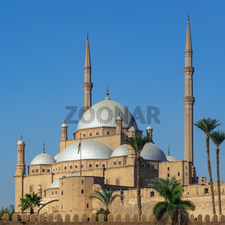 Ottoman style Great Mosque of Muhammad Ali Pasha, Citadel of Cairo, one of the landmarks of Cairo, Egypt