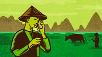 Vietnamese or South East Asian farmer talking on mobile phone Retro