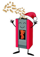 Wood pellet stove cartoon with Santa claus hat