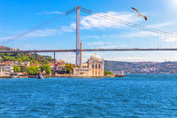 Ortakoy Mosque and the Bosphorus Bridge, beautiful sea view, Istanbul