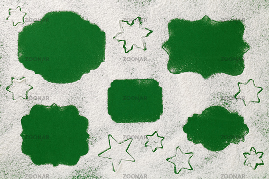 Christmas Concept with Labels On Snow Flour Background