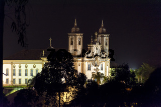 Night view of historical church in downtow of Ouro Preto city