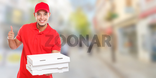 Pizza delivery man boy order delivering job deliver success successful smiling town banner copyspace copy space