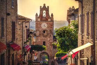little village scene in Italy Gradara Pesaro province Marche