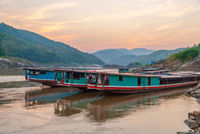 Long boat on Mekong river, Laos