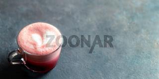 Pink beetroot latte or red velvet latte