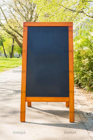 Blank Cafe Chalkboard Sidewalk Bushes Outdoors City Urban Restaurant Menu