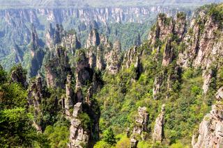 Zhangjiajie Forest Park. Pillar mountains rising from the canyon. Wulingyuan, China