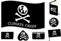 Climate crisis flag. Metaphor as a pirate symbol. Easy changes.