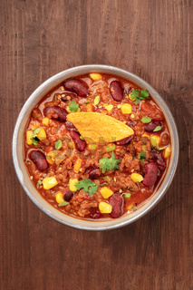 Chili con carne, shot from the top