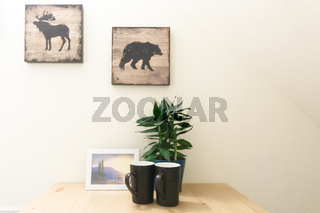 Two Empty Coffee Mugs Sit on Contemporary Table White Interior Modern Minimalistic Decoration Design