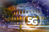 5G or LTE presentation. Rome modern city on the background