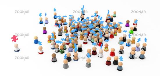 Cartoon Crowd, Teamwork Jigsaw
