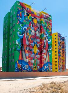 Bolivia La Paz Wiphala condominio with sun