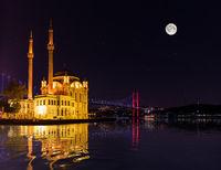 Ortakoy Mosque at night, moonlight view, Istanbul, Turkey