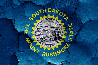flag of South Dakota painted on cracked wall