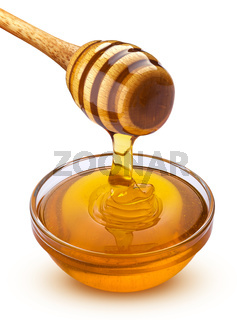 Honey dipper and pouring honey isolated on white