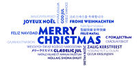 merry christmas word cloud in different languages blue and white greeting card