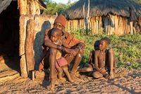 Wrinkled Himba old man and children, Namibia Africa