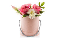 Artificial flowers isolated on white background