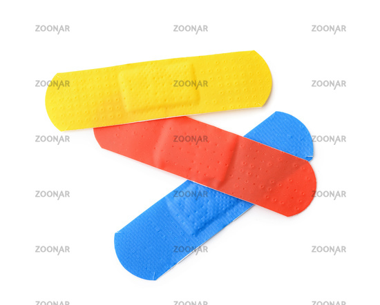 Top view of colorful adhesive bandage patches