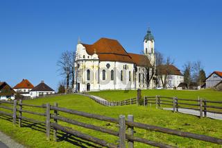 Berühmte 'Wieskirche' in Bayern, Allgäu, Deutschland. UNESCO-Weltkulturerbe.