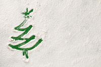 Christmas Tree On Snow Flour Background