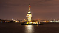 The Maiden's Tower and night lights of Istanbul, Turkey