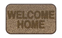 Brown coir doormat with text WELCOME HOME 3D