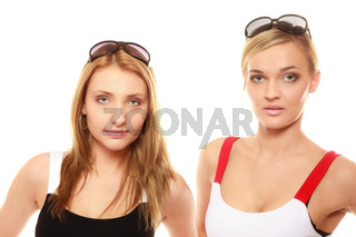 two women in summer clothes sunglasses portrait
