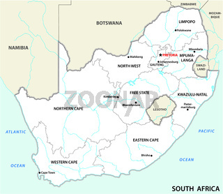 verwaltungstechnische und politische vektorkarte südafrikas