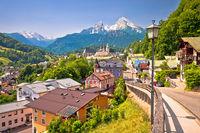 Town of Berchtesgaden and Alpine landscape view
