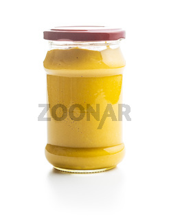 Yellow mustard in jar.
