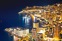 Monaco. Monte Carlo cityscape colorful evening view from above