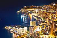 Monaco. Monte Carlo cityscape colorful evening view from above