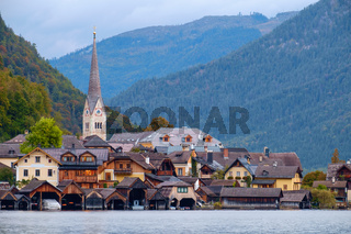 Hallstatt with Hallstatter See in the Austrian Alps