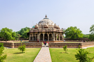 Panoramic view on Tomb of Isa Khan with tourists. UNESCO World Heritage in Delhi, India. Asia.