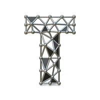 Wire low poly black metal Font Letter T 3D