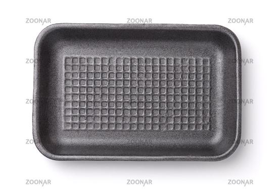 Top view of empty foam food tray