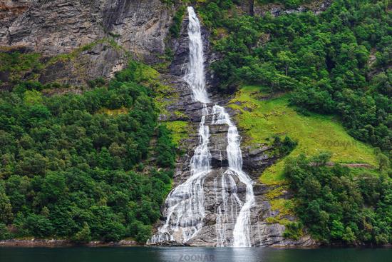 Waterfall Friaren Geiranger fjord.