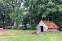 Dutch open-air museum with small shed for winter storage potoatoes